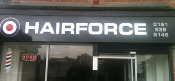 Hairforce barber's shop in Birkenhead, United Kingdom