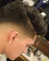 Fade Fade on the sides and back accordingly to the structure of the head and natural flow to the hai